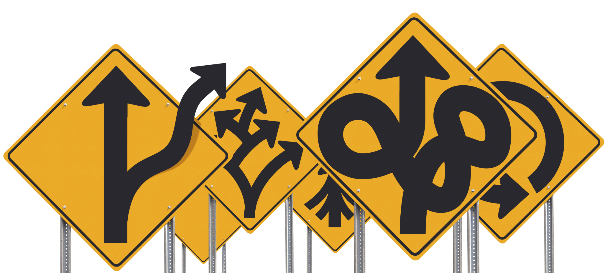 Assortment Of Bizarre Road Signs Isolated