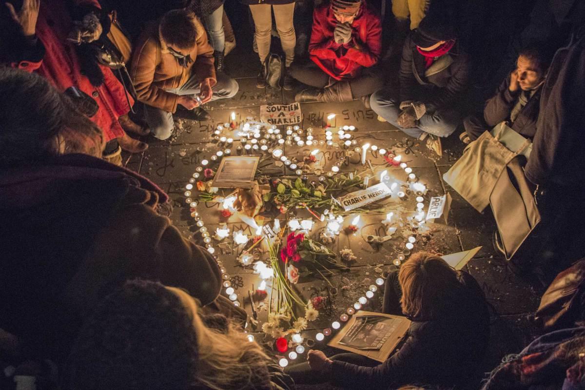 Tribute to Charlie Hebdo victims at Place de la RÈpublique - Paris