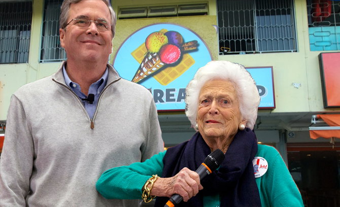 Barbara Bush Takes Jeb Out for Ice Cream to Cheer Him Up, Scolds Him for 'Not Listening' to Her